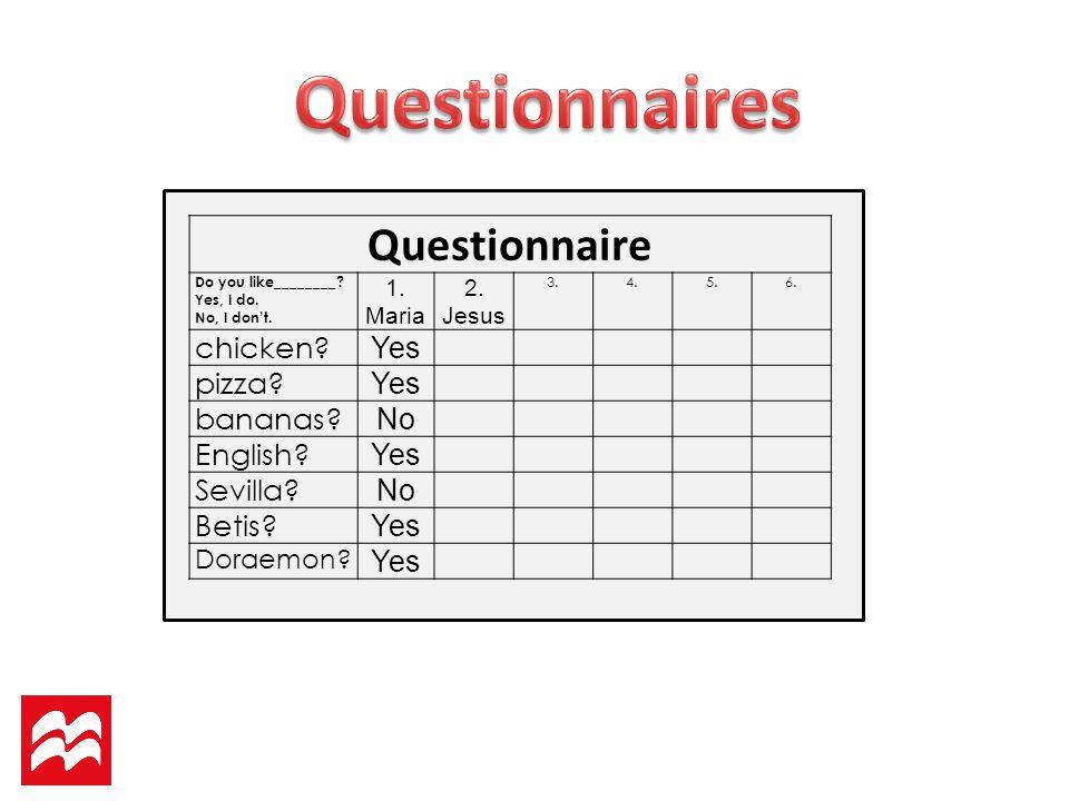 Questionnaire Do you like________.Yes, I do. No, I dont.