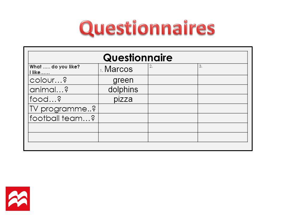 Questionnaire What …..do you like. I like…… 1. Marcos 2.3.