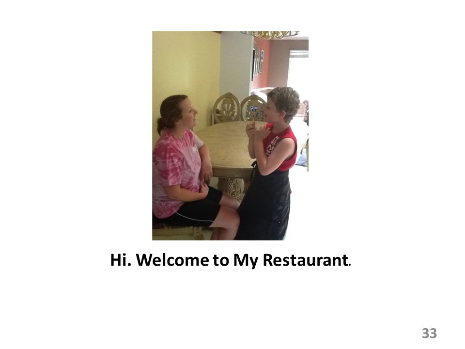 Hi. Welcome to My Restaurant. 33