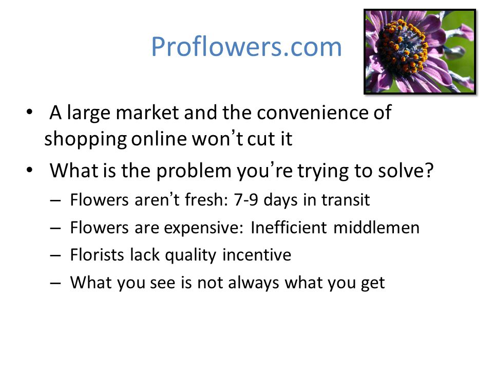 Proflowers.com A large market and the convenience of shopping online wont cut it What is the problem youre trying to solve? – Flowers arent fresh: 7-9