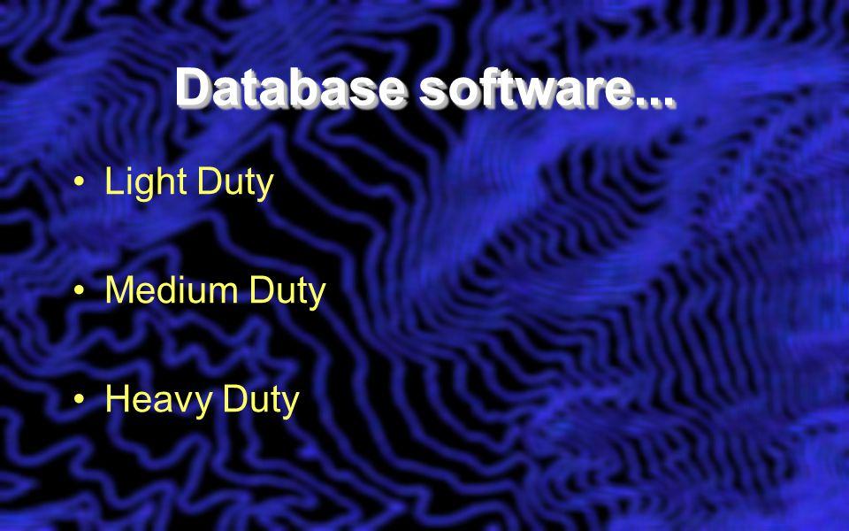 Database software... Light Duty Medium Duty Heavy Duty