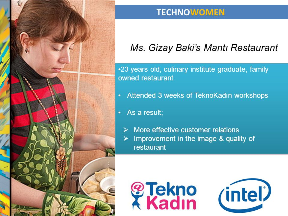 TECHNOWOMEN 23 years old, culinary institute graduate, family owned restaurant Attended 3 weeks of TeknoKadın workshops As a result; More effective cu