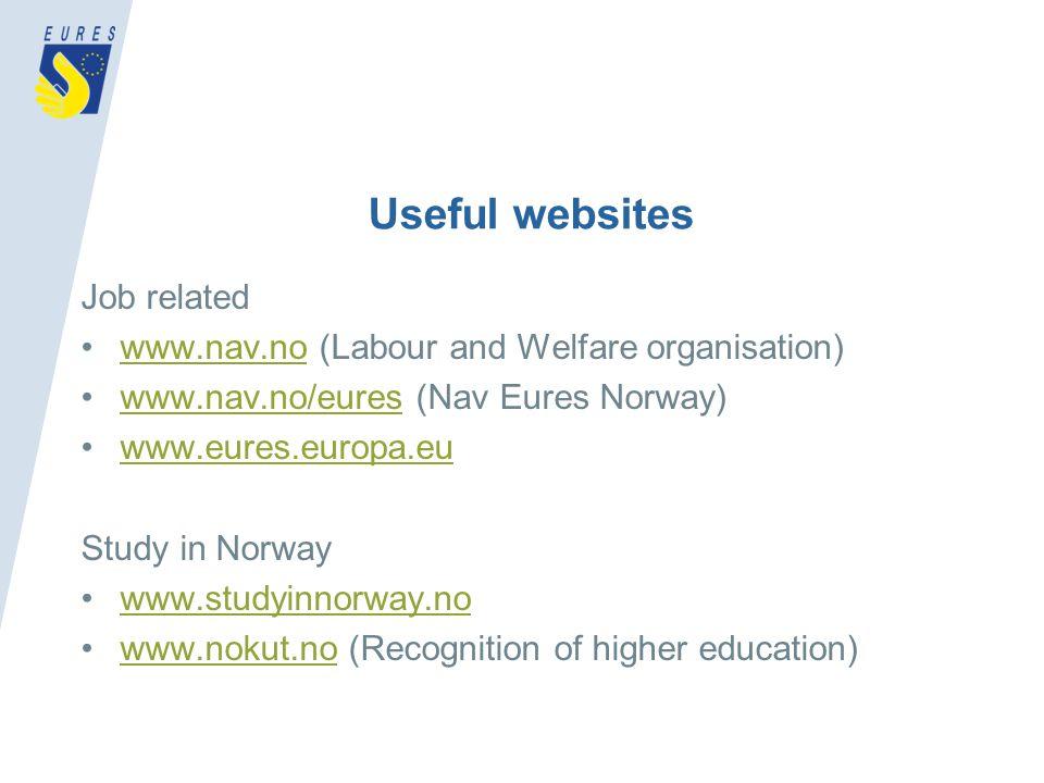 Useful websites Job related www.nav.no (Labour and Welfare organisation)www.nav.no www.nav.no/eures (Nav Eures Norway)www.nav.no/eures www.eures.europa.eu Study in Norway www.studyinnorway.no www.nokut.no (Recognition of higher education)www.nokut.no