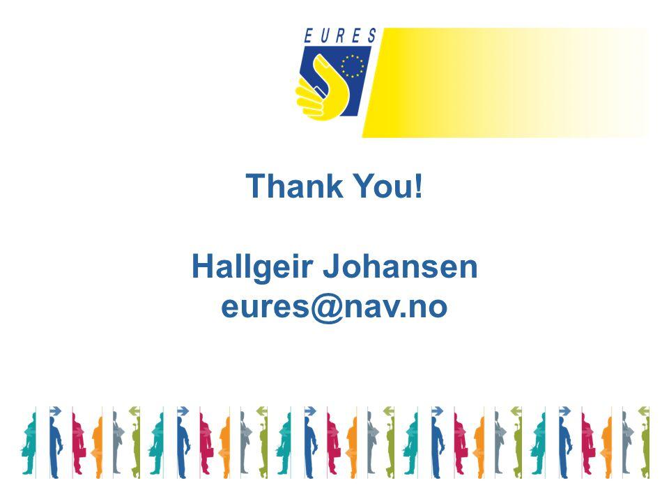 Thank You! Hallgeir Johansen eures@nav.no