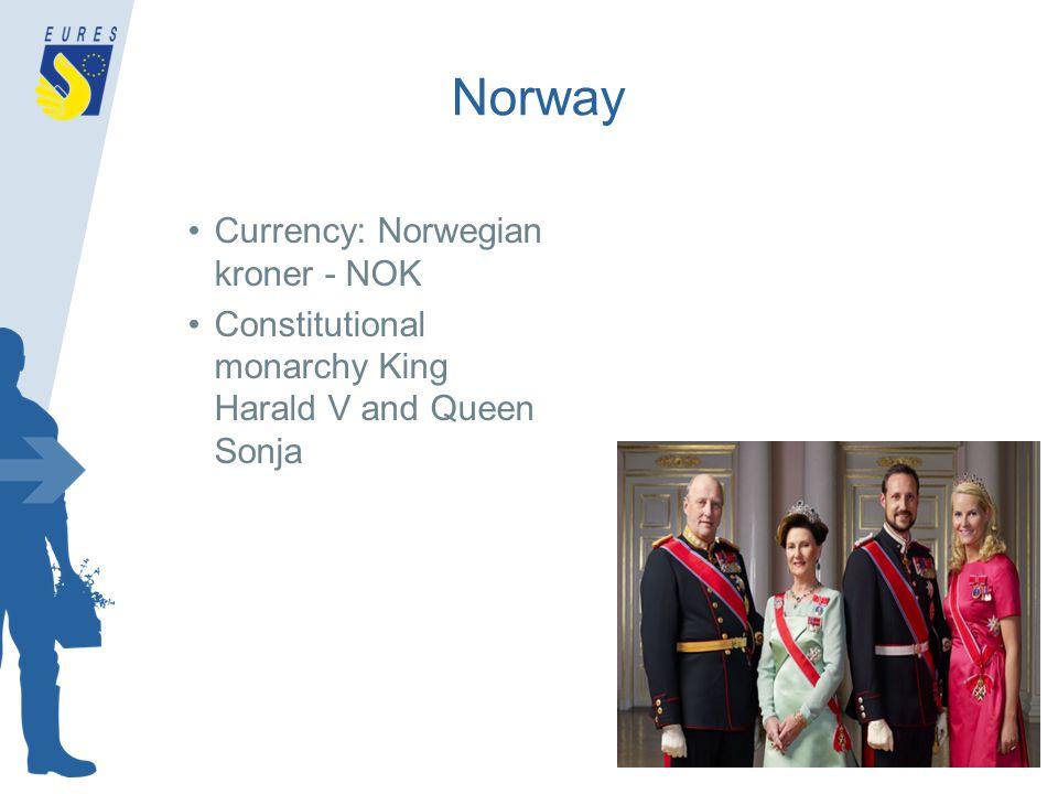 Norway Currency: Norwegian kroner - NOK Constitutional monarchy King Harald V and Queen Sonja
