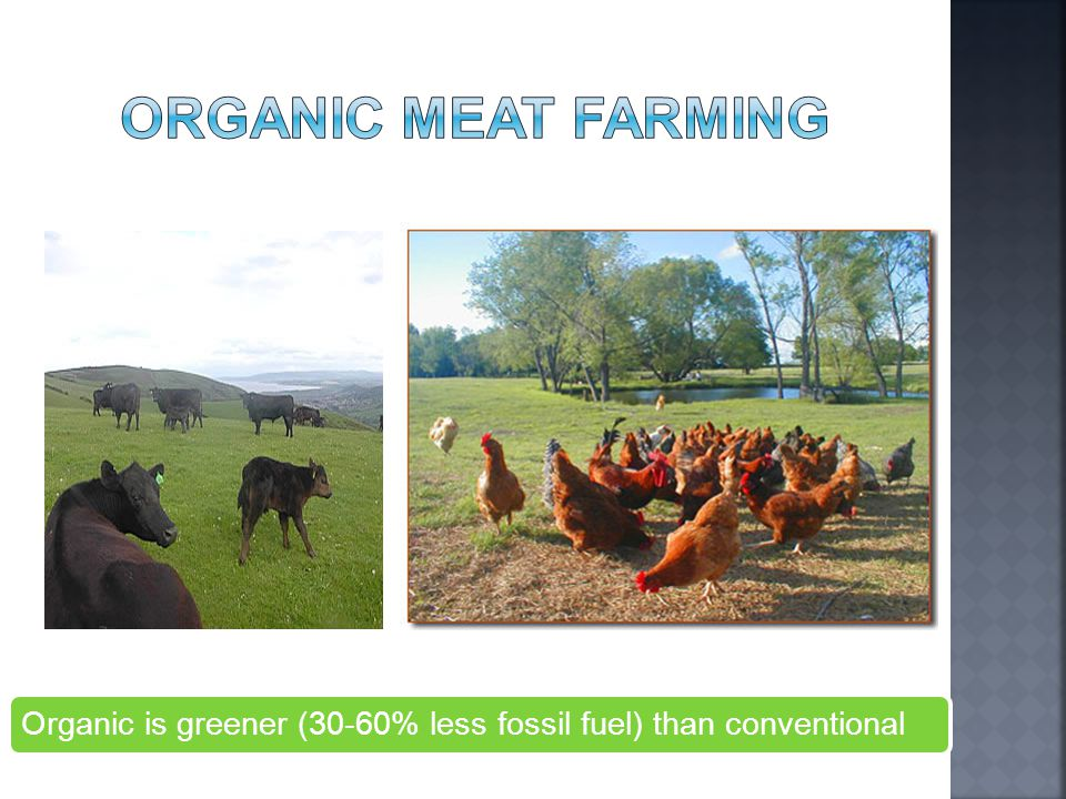 Organic is greener (30-60% less fossil fuel) than conventional
