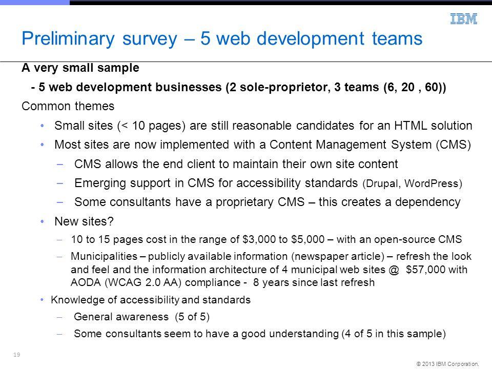 19 © 2013 IBM Corporation. Preliminary survey – 5 web development teams A very small sample - 5 web development businesses (2 sole-proprietor, 3 teams