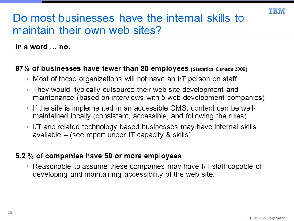 28 © 2013 IBM Corporation. Do most businesses have the internal skills to maintain their own web sites? In a word … no. 87% of businesses have fewer t