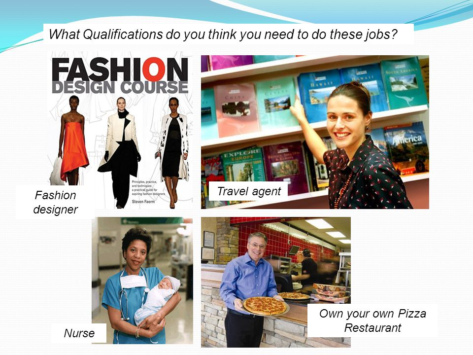 Travel agent Fashion designer Own your own Pizza Restaurant Nurse What Qualifications do you think you need to do these jobs