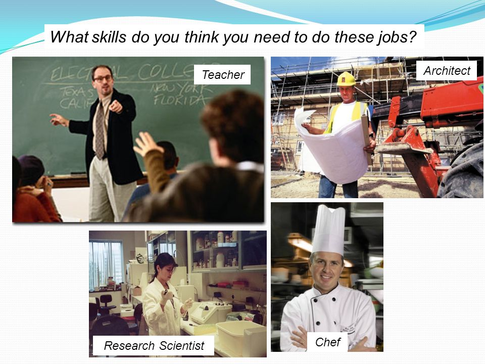 What skills do you think you need to do these jobs Teacher Architect Research Scientist Chef