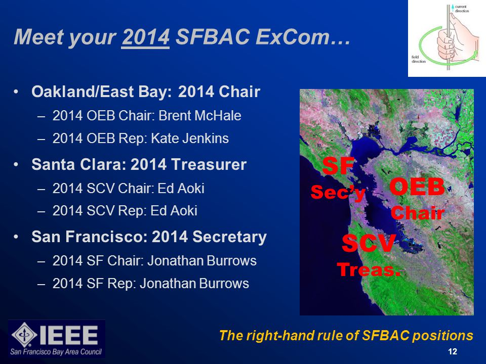 12 Meet your 2014 SFBAC ExCom… Oakland/East Bay: 2014 Chair –2014 OEB Chair: Brent McHale –2014 OEB Rep: Kate Jenkins Santa Clara: 2014 Treasurer –2014 SCV Chair: Ed Aoki –2014 SCV Rep: Ed Aoki San Francisco: 2014 Secretary –2014 SF Chair: Jonathan Burrows –2014 SF Rep: Jonathan Burrows The right-hand rule of SFBAC positions OEB Chair SCV Treas.