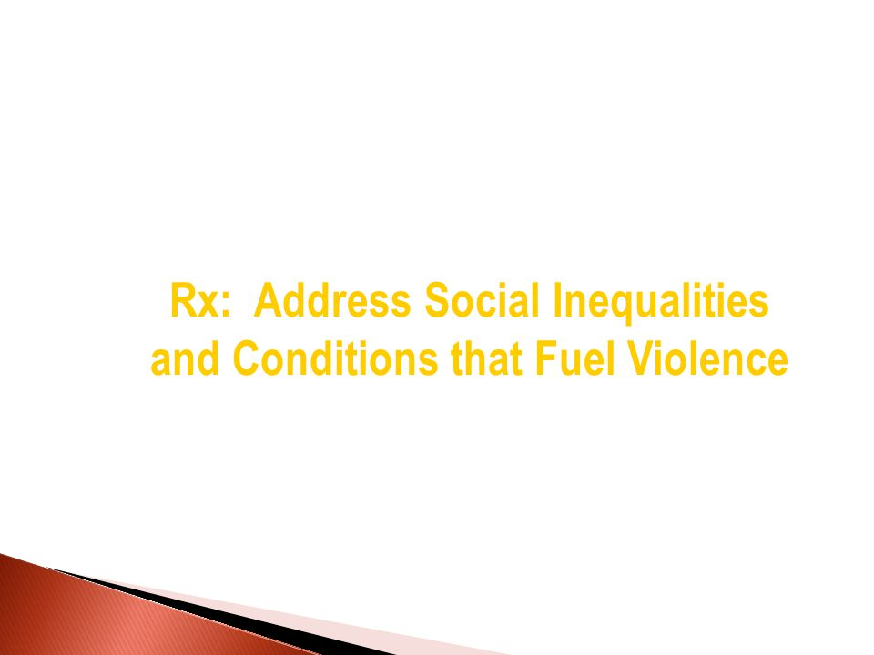 Rx: Address Social Inequalities and Conditions that Fuel Violence