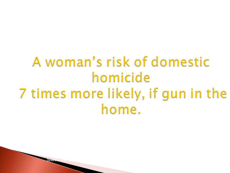A womans risk of domestic homicide 7 times more likely, if gun in the home.