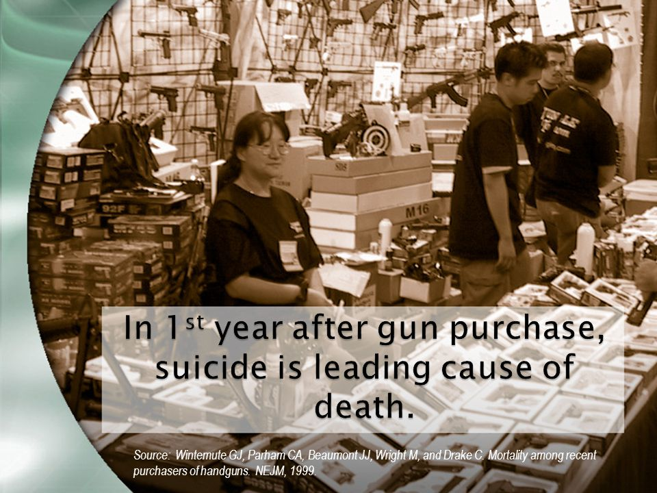 In 1 st year after gun purchase, suicide is leading cause of death.