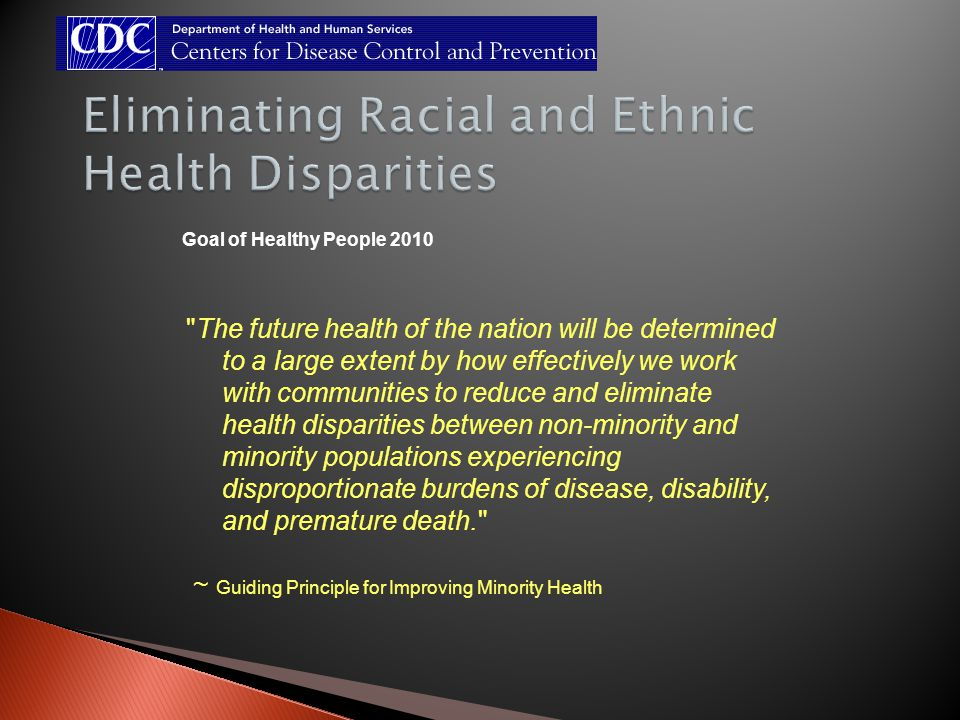 Goal of Healthy People 2010 The future health of the nation will be determined to a large extent by how effectively we work with communities to reduce and eliminate health disparities between non-minority and minority populations experiencing disproportionate burdens of disease, disability, and premature death. ~ Guiding Principle for Improving Minority Health