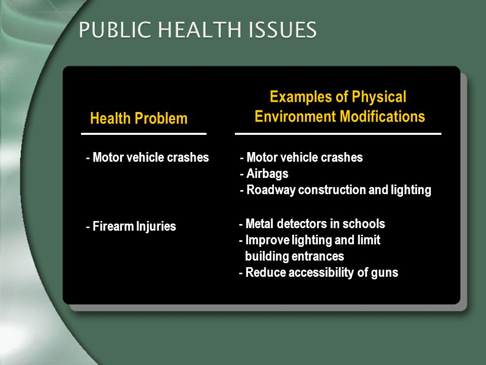 PUBLIC HEALTH ISSUES Health Problem Examples of Physical Environment Modifications - Motor vehicle crashes - Airbags - Roadway construction and lighting - Metal detectors in schools - Improve lighting and limit building entrances - Reduce accessibility of guns - Motor vehicle crashes - Firearm Injuries