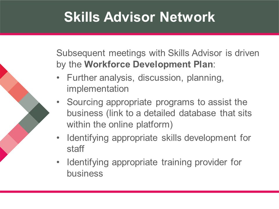 Skills Advisor Network Subsequent meetings with Skills Advisor is driven by the Workforce Development Plan: Further analysis, discussion, planning, implementation Sourcing appropriate programs to assist the business (link to a detailed database that sits within the online platform) Identifying appropriate skills development for staff Identifying appropriate training provider for business