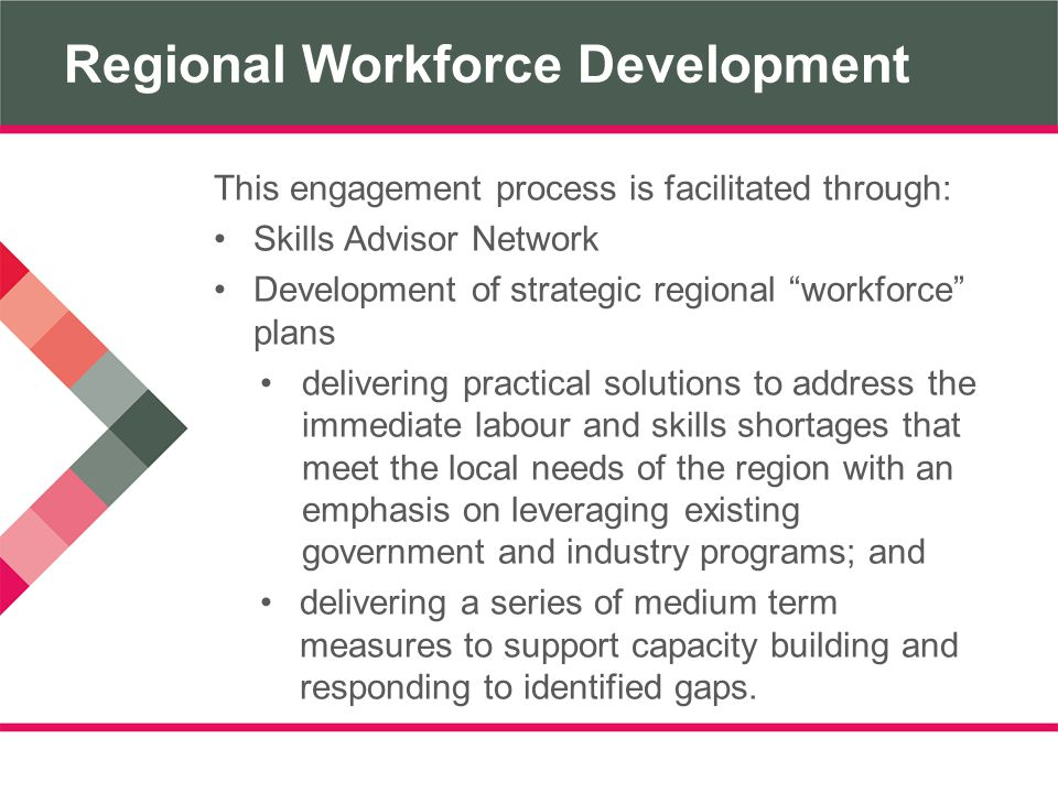 Regional Workforce Development This engagement process is facilitated through: Skills Advisor Network Development of strategic regional workforce plans delivering practical solutions to address the immediate labour and skills shortages that meet the local needs of the region with an emphasis on leveraging existing government and industry programs; and delivering a series of medium term measures to support capacity building and responding to identified gaps.