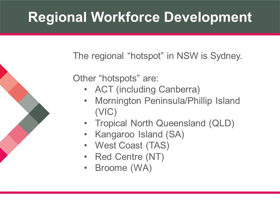 Regional Workforce Development The regional hotspot in NSW is Sydney.