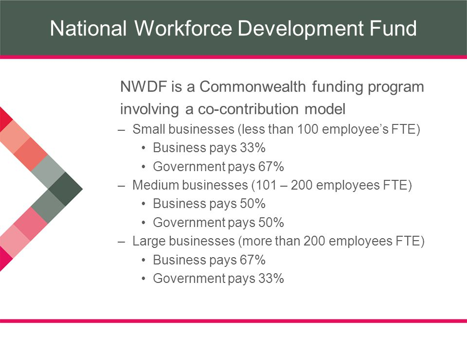 National Workforce Development Fund NWDF is a Commonwealth funding program involving a co-contribution model –Small businesses (less than 100 employees FTE) Business pays 33% Government pays 67% –Medium businesses (101 – 200 employees FTE) Business pays 50% Government pays 50% –Large businesses (more than 200 employees FTE) Business pays 67% Government pays 33%