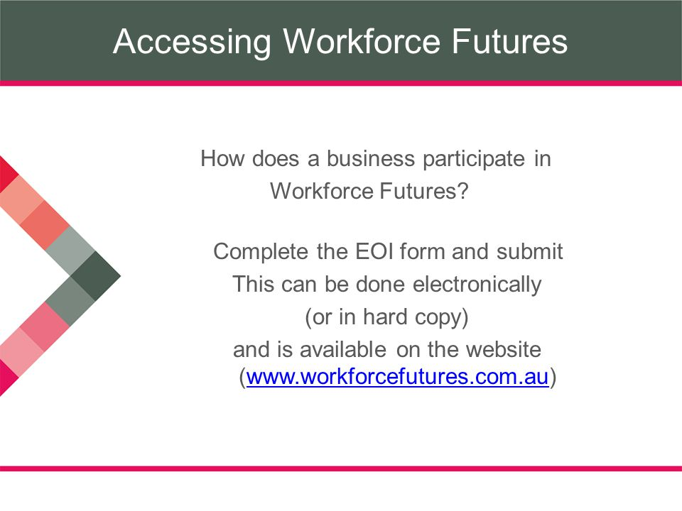 Accessing Workforce Futures How does a business participate in Workforce Futures.