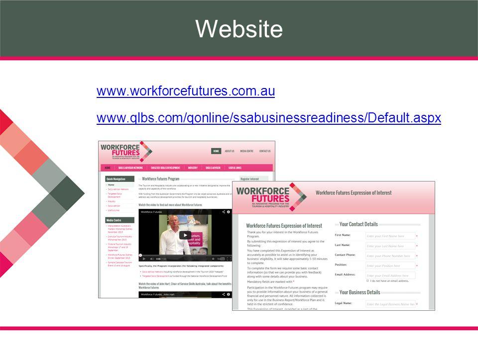 Website www.workforcefutures.com.au www.qlbs.com/qonline/ssabusinessreadiness/Default.aspx