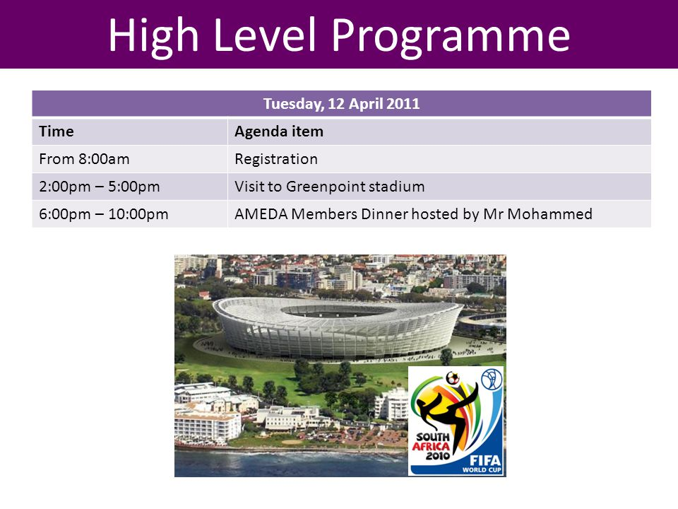 High Level Programme Tuesday, 12 April 2011 TimeAgenda item From 8:00amRegistration 2:00pm – 5:00pmVisit to Greenpoint stadium 6:00pm – 10:00pmAMEDA M