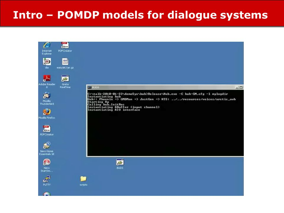 Intro – POMDP models for dialogue systems