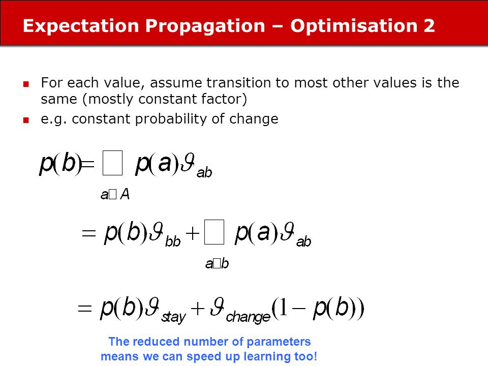 Expectation Propagation – Optimisation 2 For each value, assume transition to most other values is the same (mostly constant factor) e.g.