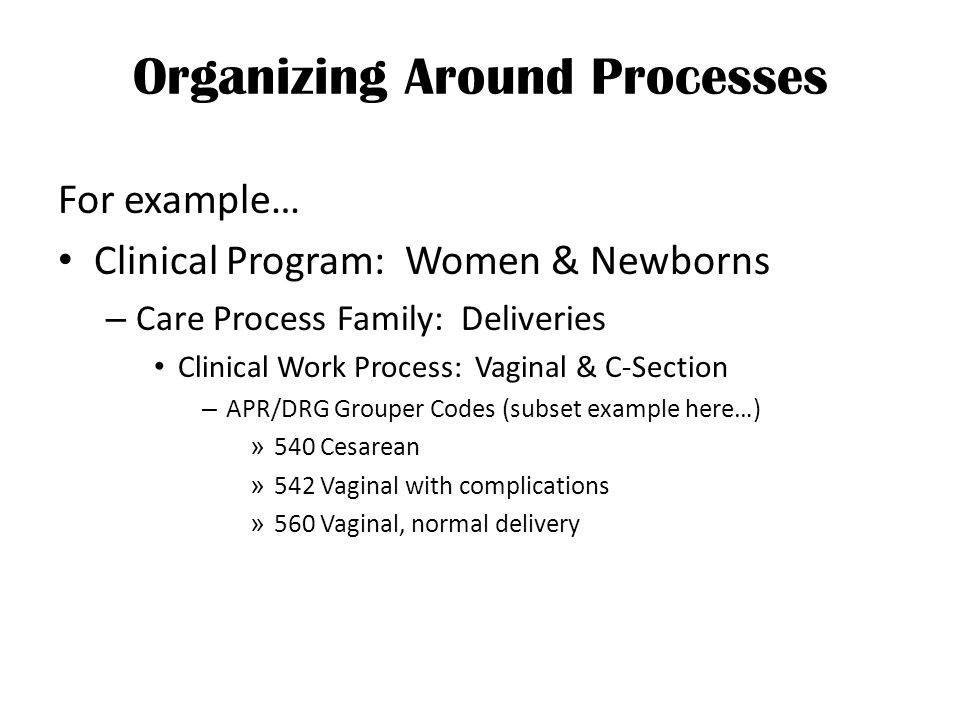 Organizing Around Processes For example… Clinical Program: Women & Newborns – Care Process Family: Deliveries Clinical Work Process: Vaginal & C-Section – APR/DRG Grouper Codes (subset example here…) » 540 Cesarean » 542 Vaginal with complications » 560 Vaginal, normal delivery