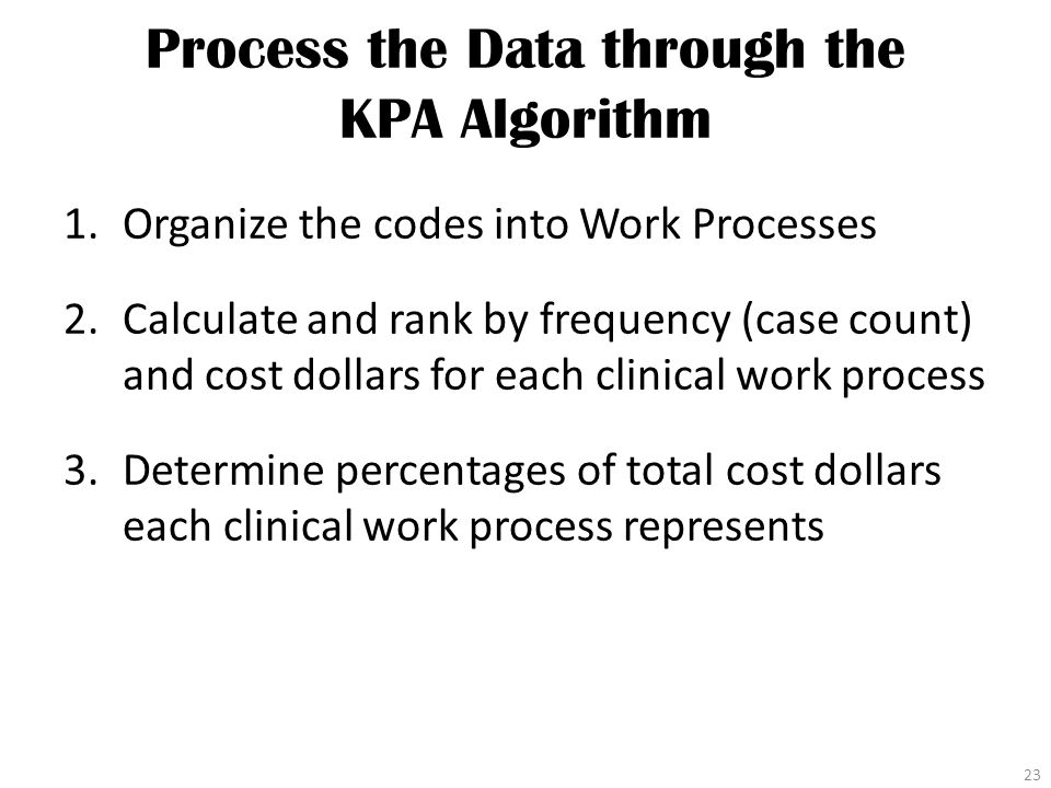 Process the Data through the KPA Algorithm 1.Organize the codes into Work Processes 2.Calculate and rank by frequency (case count) and cost dollars for each clinical work process 3.Determine percentages of total cost dollars each clinical work process represents 23