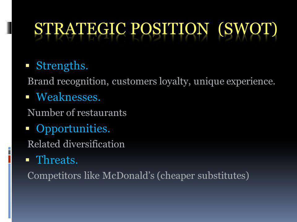 Strengths. Brand recognition, customers loyalty, unique experience.