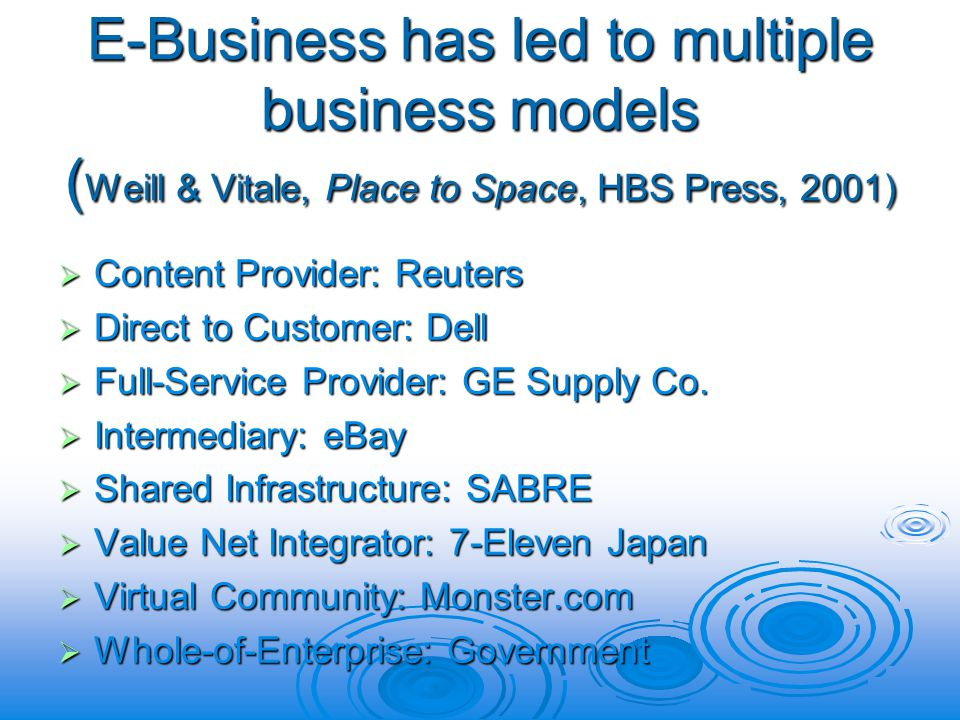 E-Business has led to multiple business models ( Weill & Vitale, Place to Space, HBS Press, 2001) Content Provider: Reuters Content Provider: Reuters Direct to Customer: Dell Direct to Customer: Dell Full-Service Provider: GE Supply Co.
