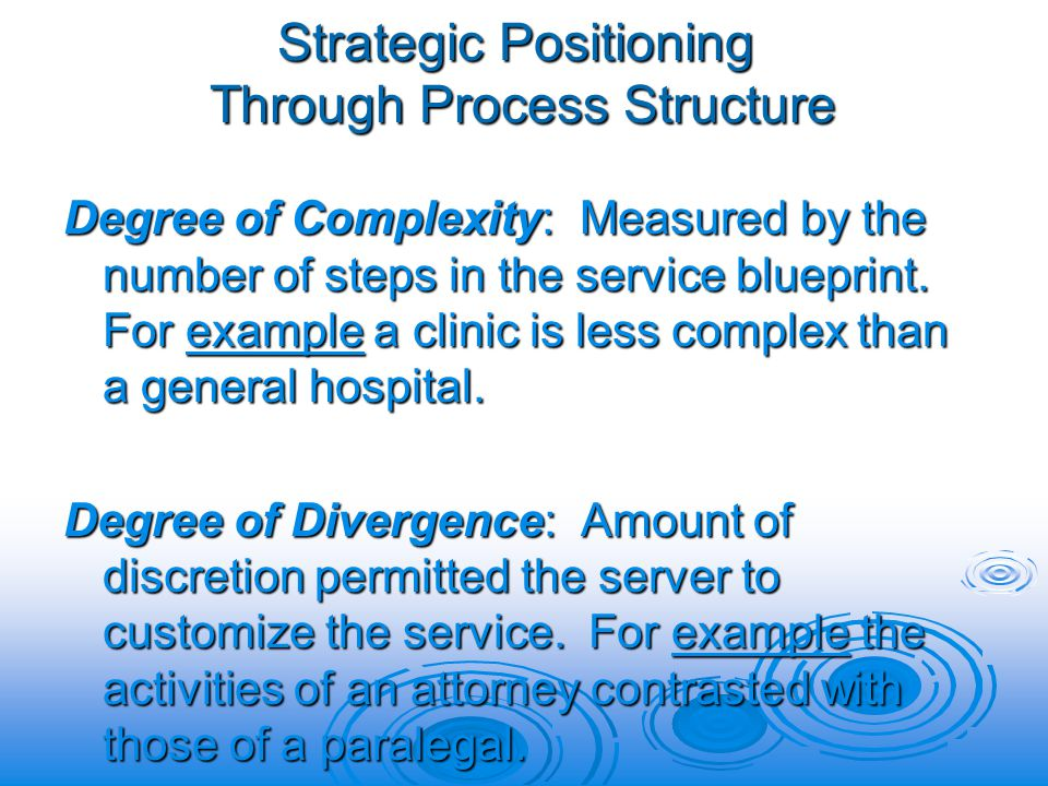 Strategic Positioning Through Process Structure Degree of Complexity: Measured by the number of steps in the service blueprint.