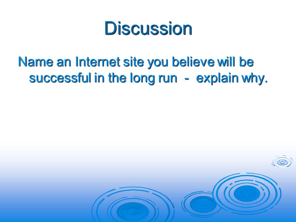 Discussion Name an Internet site you believe will be successful in the long run - explain why.