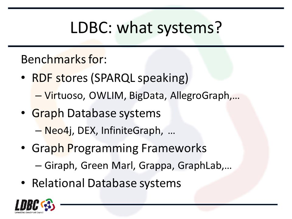 LDBC: what systems.