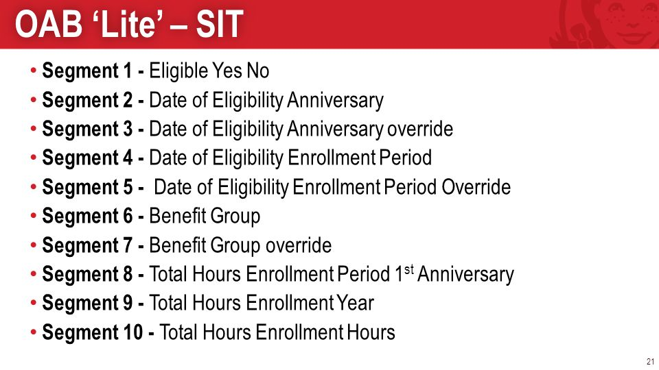 Segment 1 - Eligible Yes No Segment 2 - Date of Eligibility Anniversary Segment 3 - Date of Eligibility Anniversary override Segment 4 - Date of Eligi