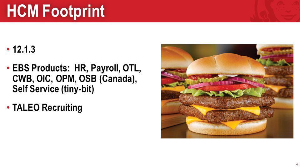 12.1.3 EBS Products: HR, Payroll, OTL, CWB, OIC, OPM, OSB (Canada), Self Service (tiny-bit) TALEO Recruiting 4 HCM FootprintHCM Footprint