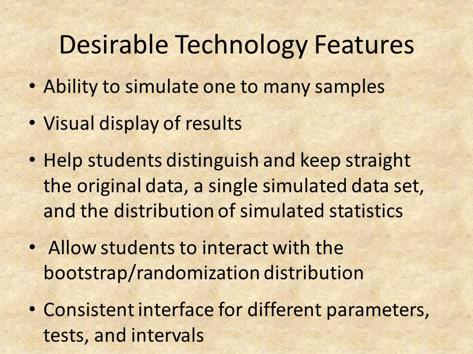Desirable Technology Features Ability to simulate one to many samples Visual display of results Help students distinguish and keep straight the origin