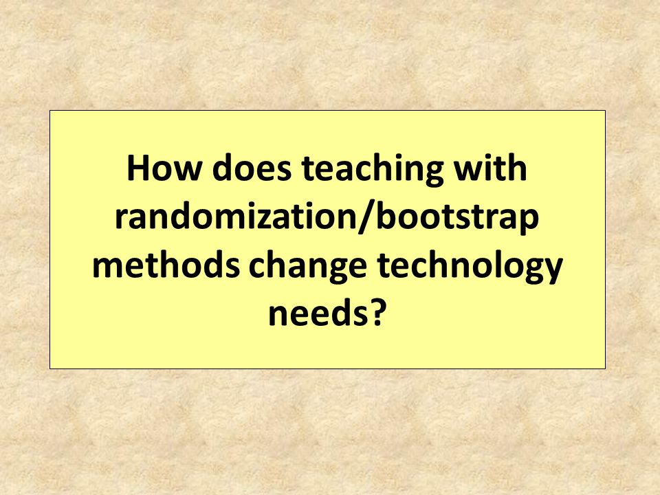 How does teaching with randomization/bootstrap methods change technology needs?