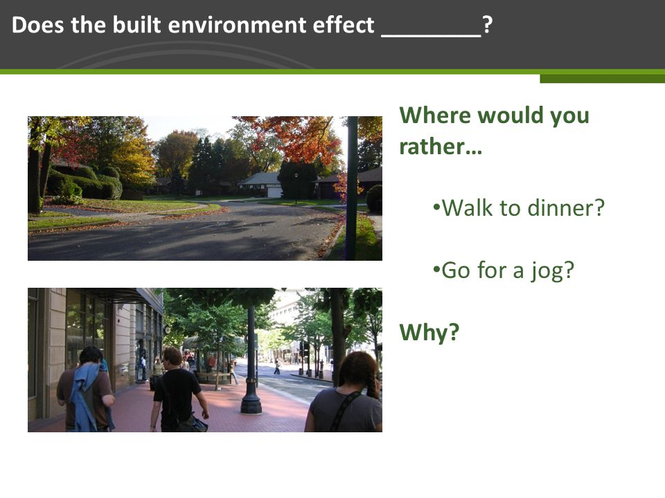 Page 32 Does the built environment effect ________.