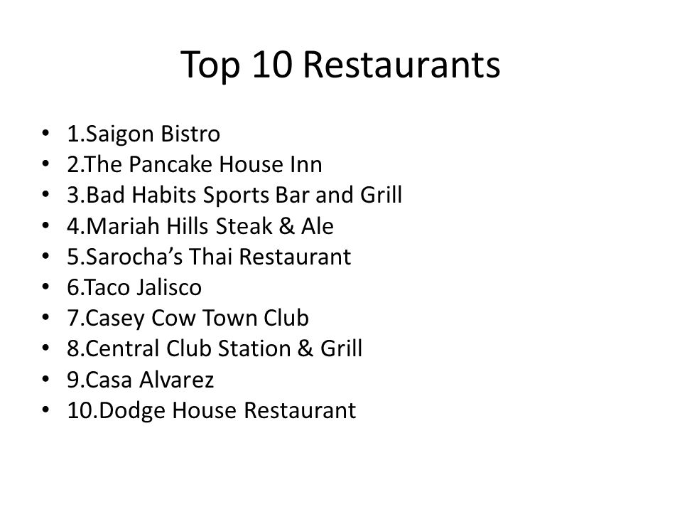 Top 10 Restaurants 1.Saigon Bistro 2.The Pancake House Inn 3.Bad Habits Sports Bar and Grill 4.Mariah Hills Steak & Ale 5.Sarochas Thai Restaurant 6.Taco Jalisco 7.Casey Cow Town Club 8.Central Club Station & Grill 9.Casa Alvarez 10.Dodge House Restaurant