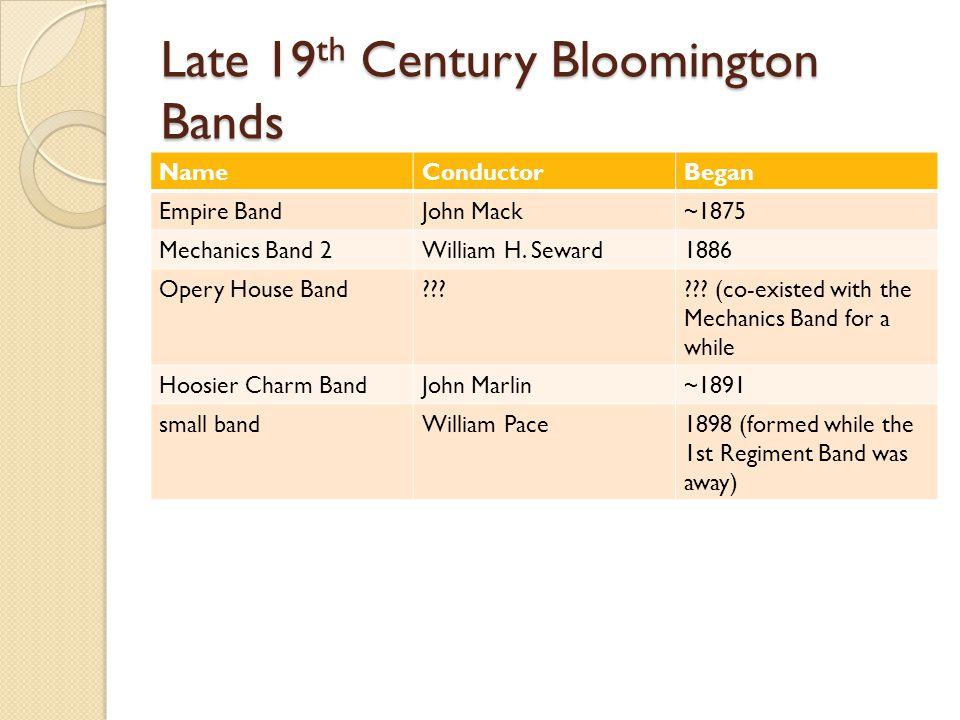Late 19 th Century Bloomington Bands NameConductorBegan Empire BandJohn Mack~1875 Mechanics Band 2William H.