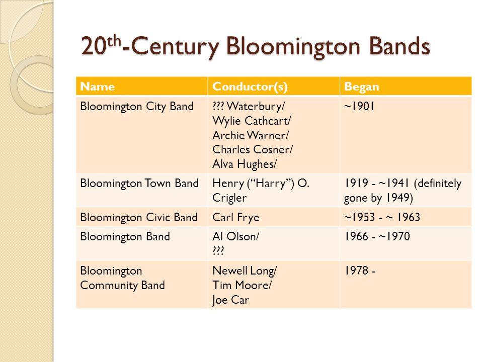 20 th -Century Bloomington Bands NameConductor(s)Began Bloomington City Band .