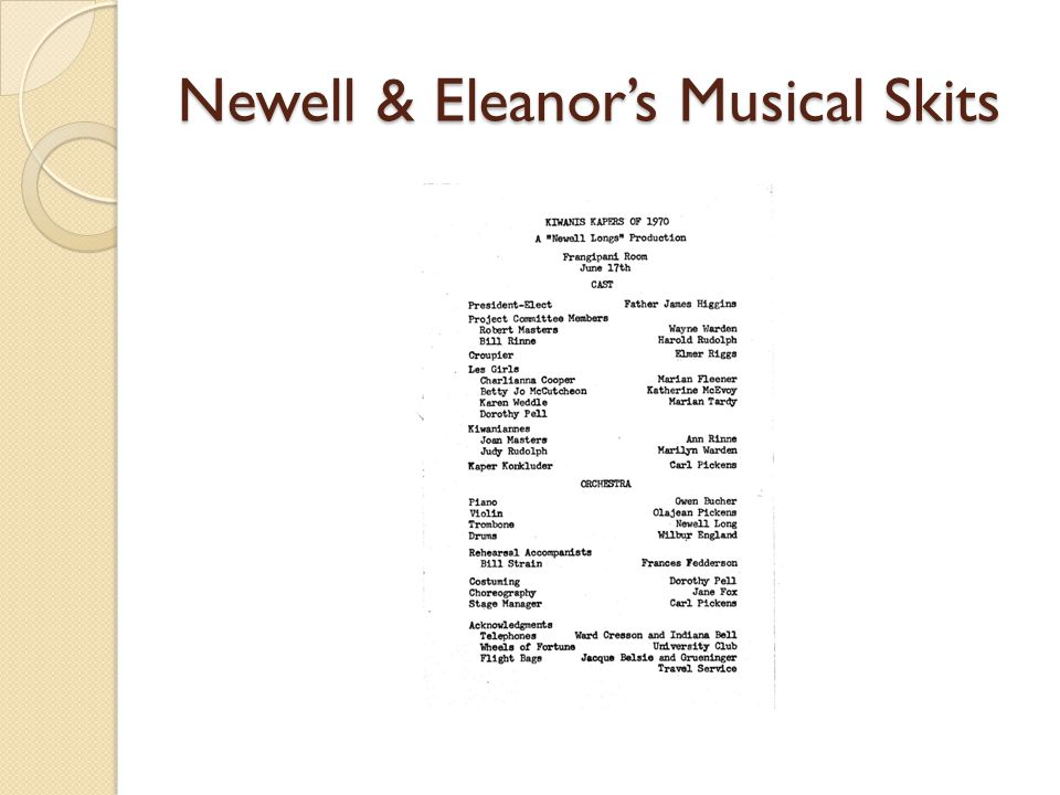 Newell & Eleanors Musical Skits
