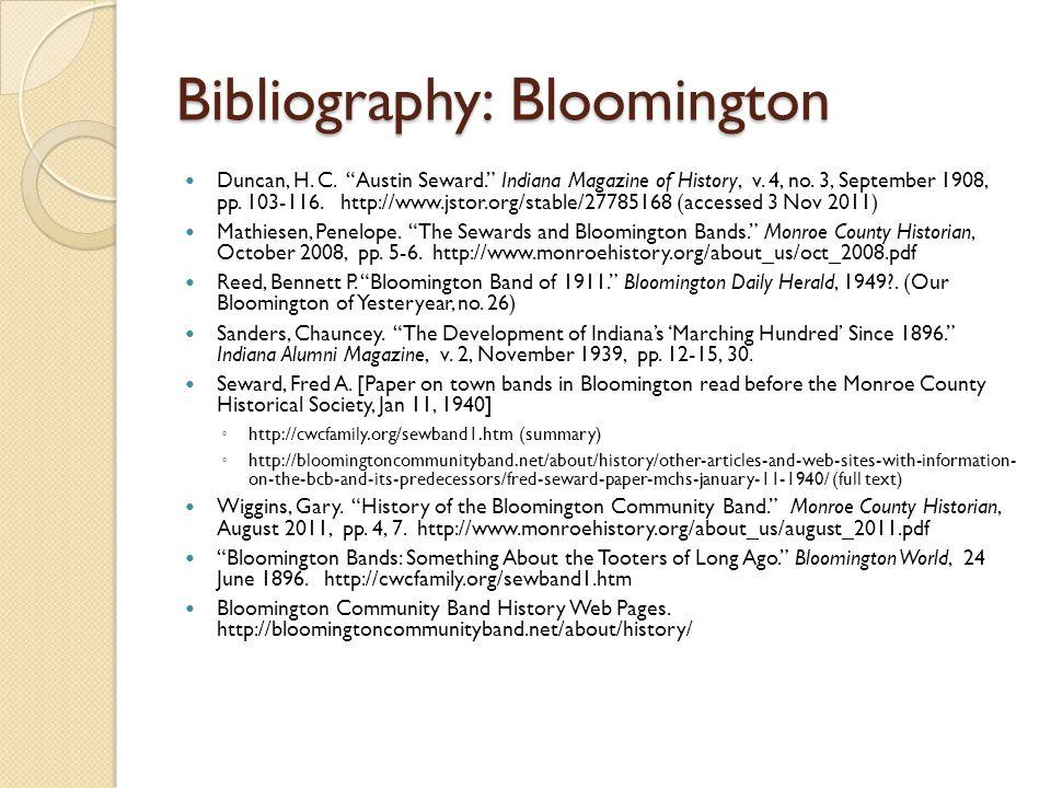 Bibliography: Bloomington Duncan, H. C. Austin Seward.
