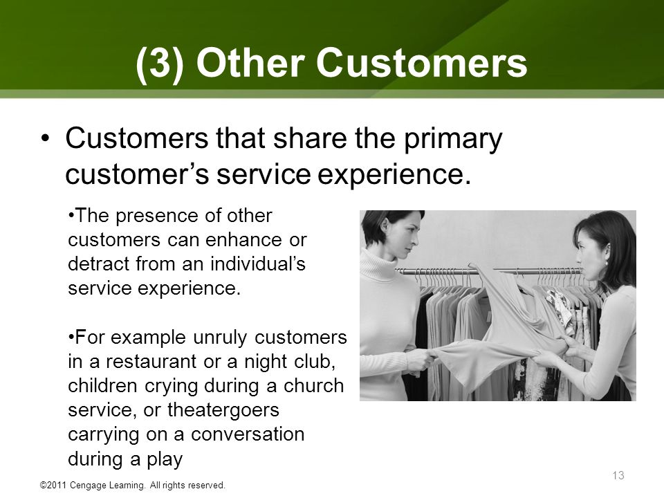(3) Other Customers Customers that share the primary customers service experience.