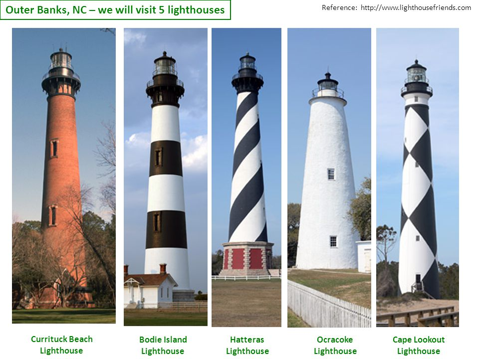Outer Banks, NC – we will visit 5 lighthouses Currituck Beach Lighthouse Bodie Island Lighthouse Hatteras Lighthouse Ocracoke Lighthouse Cape Lookout Lighthouse Reference: http://www.lighthousefriends.com