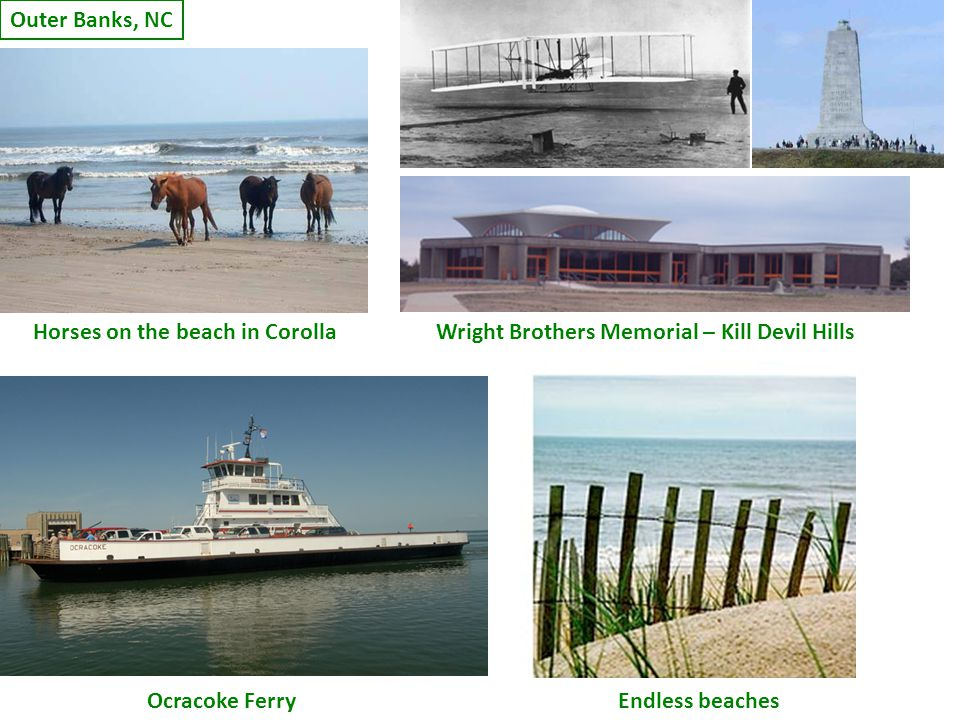 Outer Banks, NC Horses on the beach in CorollaWright Brothers Memorial – Kill Devil Hills Ocracoke FerryEndless beaches