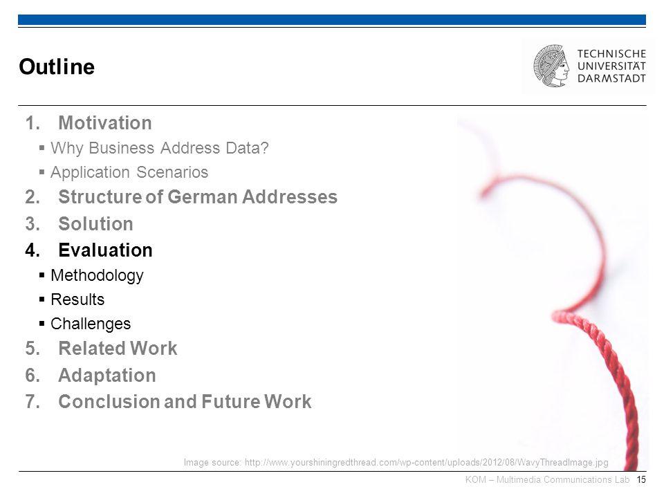 KOM – Multimedia Communications Lab15 1.Motivation Why Business Address Data? Application Scenarios 2.Structure of German Addresses 3.Solution 4.Evalu